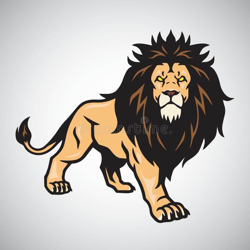 Lion Mascot Standing Progettazione dell'illustrazione di vettore illustrazione di stock