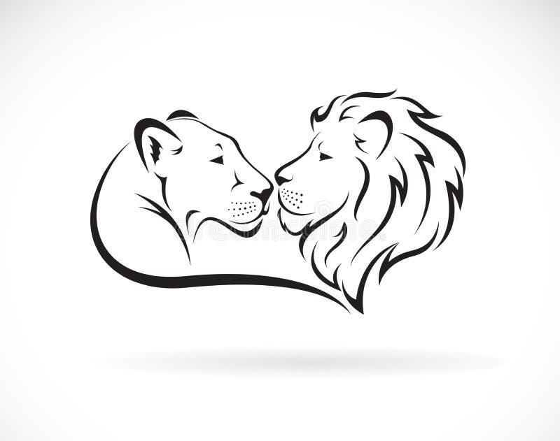 Lion masculin et conception femelle de lion sur le fond blanc Animaux sauvages Logo ou ic?ne de lion Illustration pos?e editable  illustration libre de droits