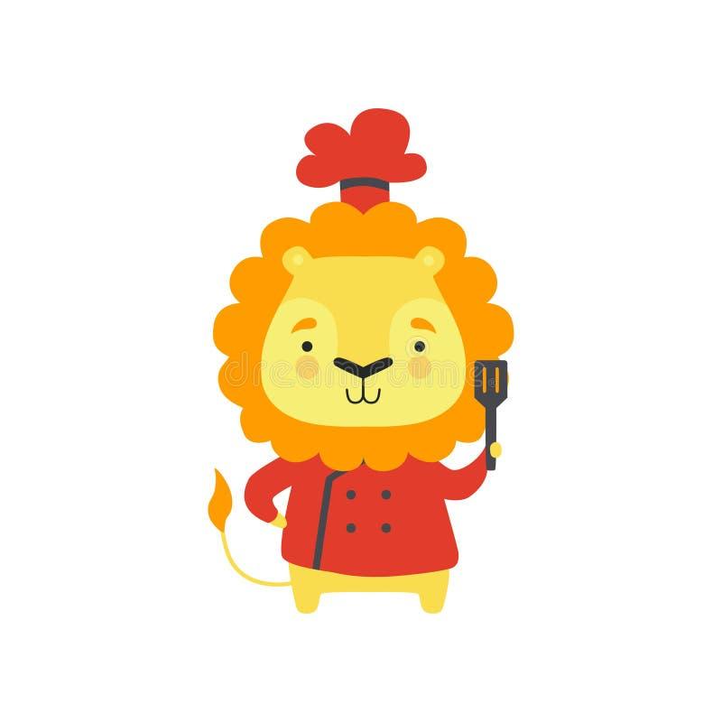 Lion mignon dans l'uniforme rouge de chef tenant la spatule, caractère animal de bande dessinée faisant cuire l'illustration de v illustration de vecteur