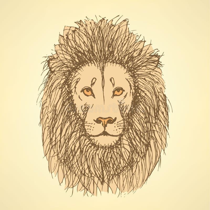 Lion mignon de croquis dans le style de vintage illustration libre de droits