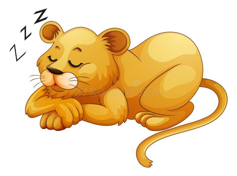 Lion mignon seul dormant illustration de vecteur