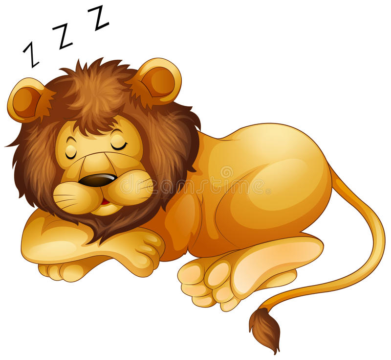 Lion mignon seul dormant illustration stock