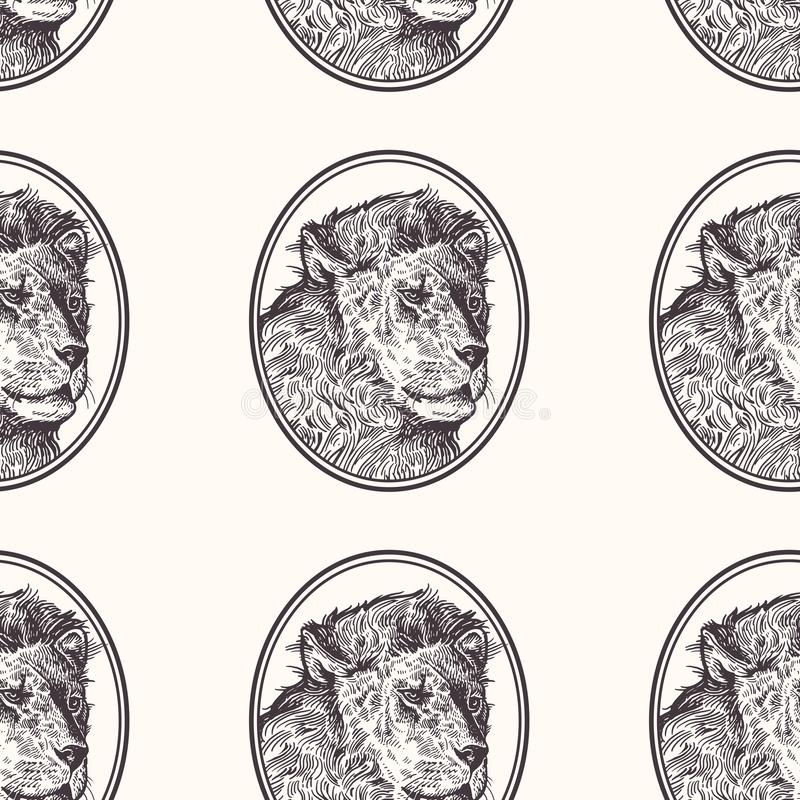 Lion Modèle sans couture avec des animaux de l'Afrique Dessin de main de faune Art d'illustration de vecteur Rebecca 36 Vieille g illustration libre de droits