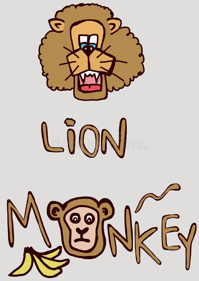 Download Lion and monkey stock illustration. Illustration of painting - 32247044