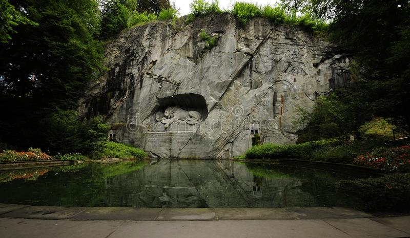 Loewendenkmal Luzern Lion Monument stock images