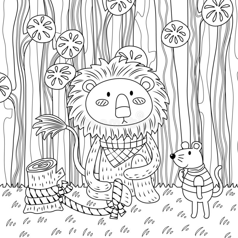 Kids Page: Lion and the Mouse Story Coloring Pages 2 | 800x800