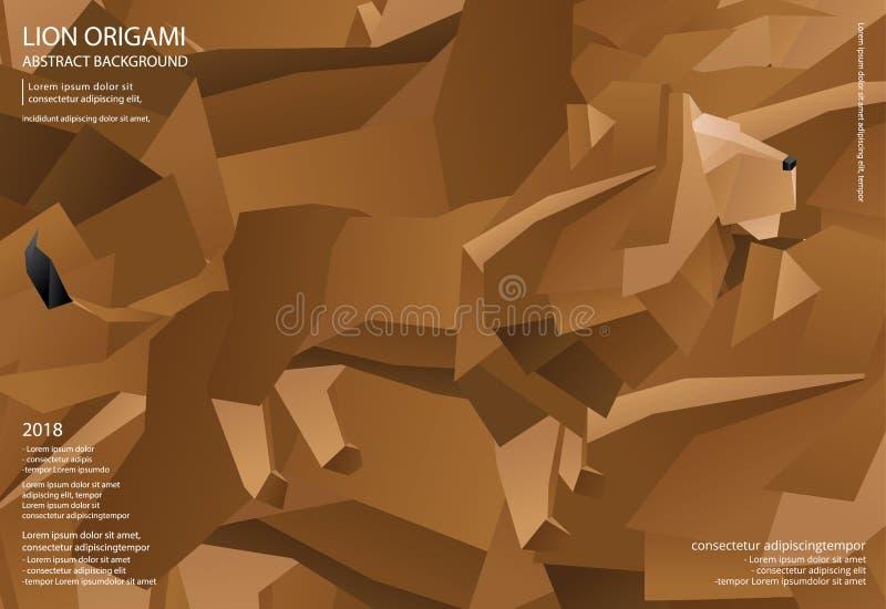 Lion Origami Abstract Background royaltyfri illustrationer