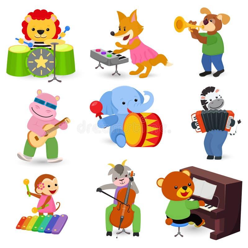 Lion ou chien animalistic de musicien de caractère de vecteur animal de musique jouant sur la guitare et le piano d'instruments d illustration libre de droits