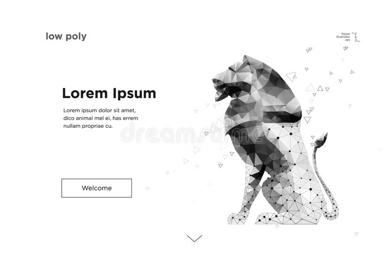 Lion in outline low poly. strategy. Vector. Lion in outline low poly geometric style on the white background. Strategy. Abstract mash line and point lion origami royalty free illustration
