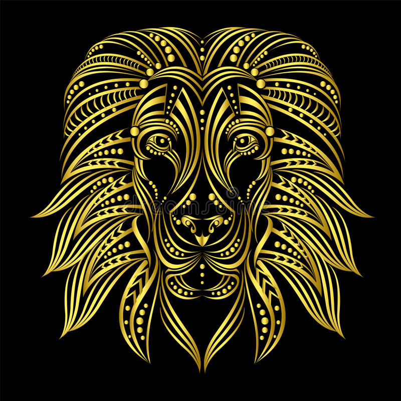 Lion painted in ethnic style. Indian / African style . Sketch of tattoo or print on a T-shirt royalty free illustration