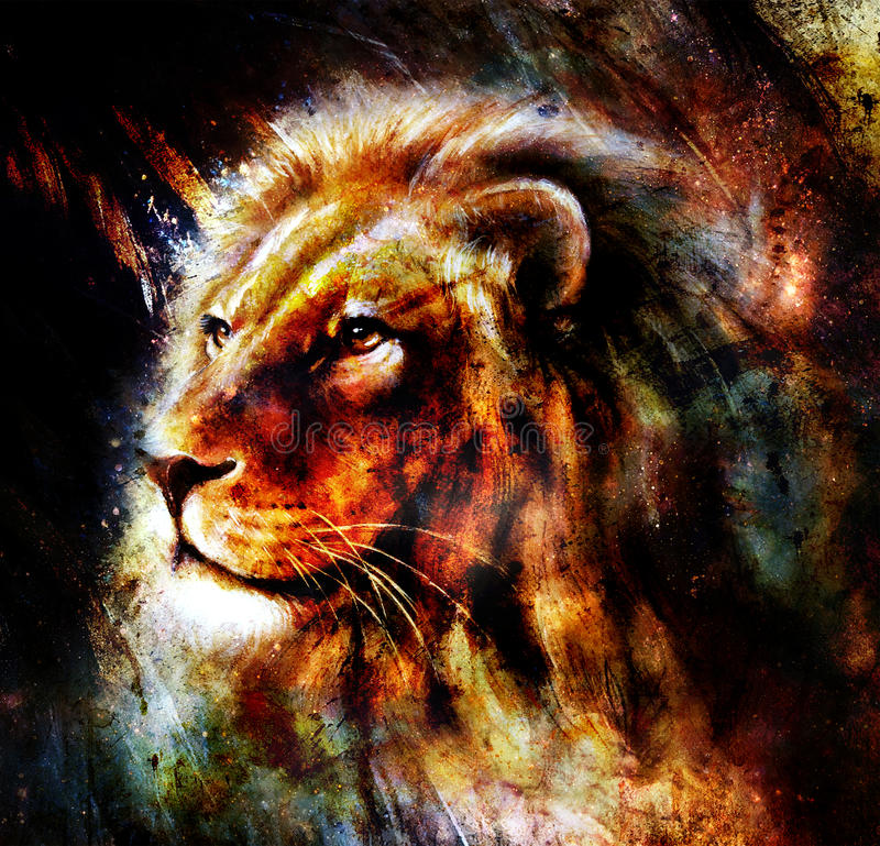 Lion Painting On Abstract Color Background Profile