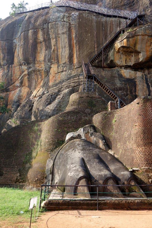 Lion Paw antiguo de las ruinas de Sigiriya fotos de archivo libres de regalías