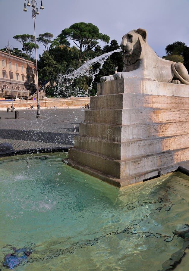 Lion on Piazza del Popolo, Rome stock photo