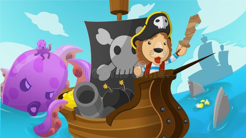 Lion Pirate Adventure Fantasy Cartoon-Vector vector illustratie