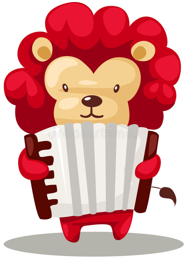 Lion playing accordion. Illustration of isolated lion playing accordion on white royalty free illustration