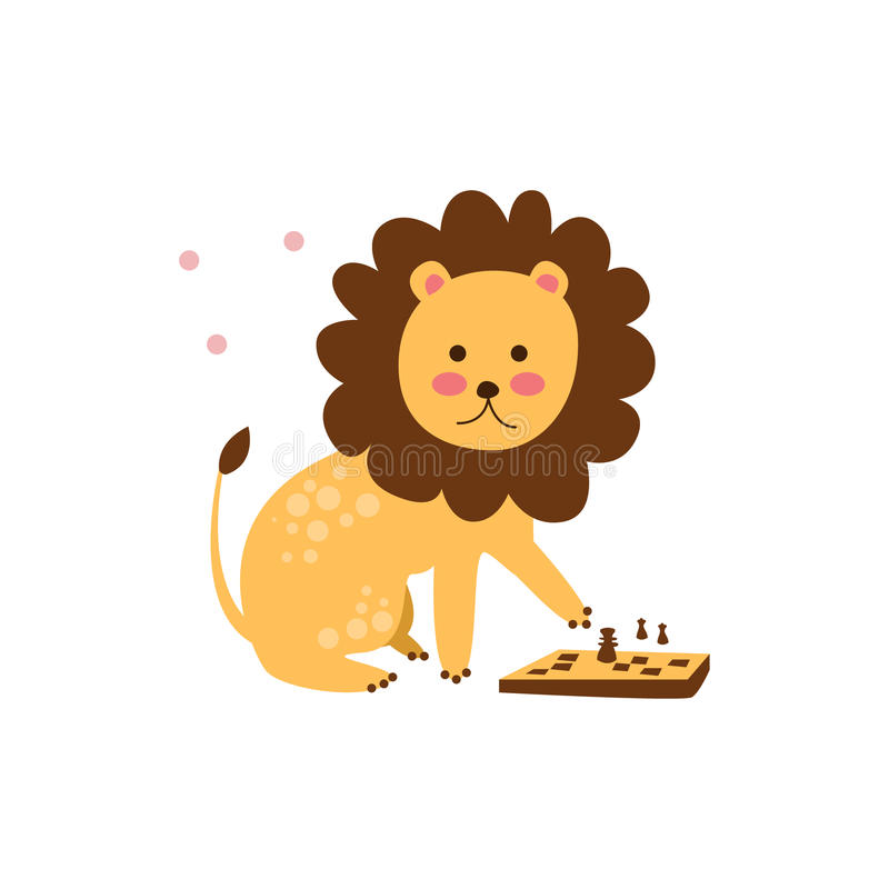 Lion Playing Chess stock illustratie