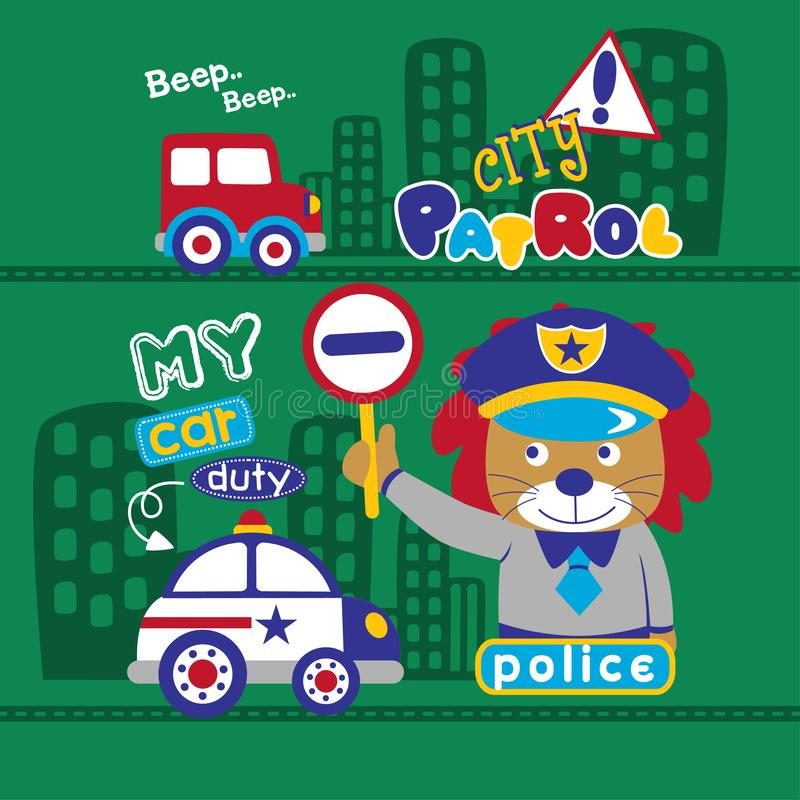 Lion the police funny animal cartoon,vector illustration stock illustration