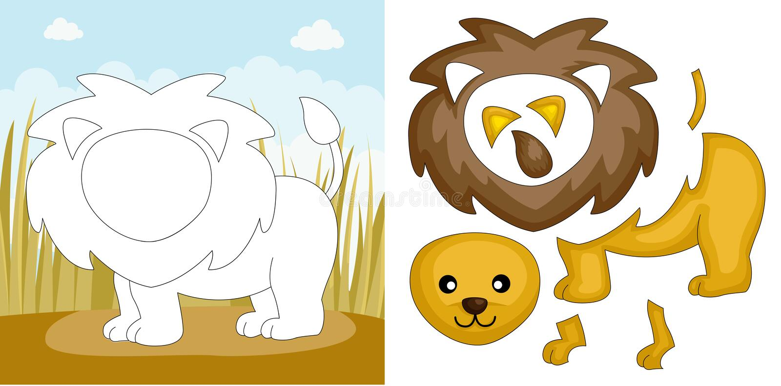Download Lion puzzle stock vector. Image of pieces, wild, shape - 24181854