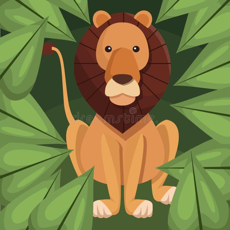 Lion réaliste de plan rapproché d'affiche de couleur dans la jungle illustration de vecteur