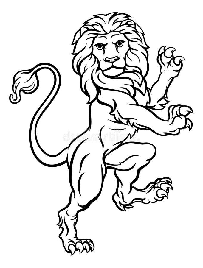 Lion Rampant Heraldic Crest Coat van Wapens vector illustratie