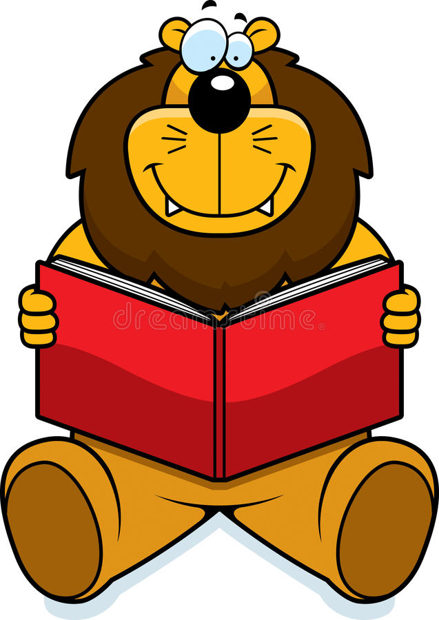 Download Lion Reading stock vector. Image of happy, story, book - 14046164