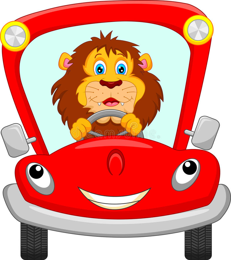 lion in red car stock illustration