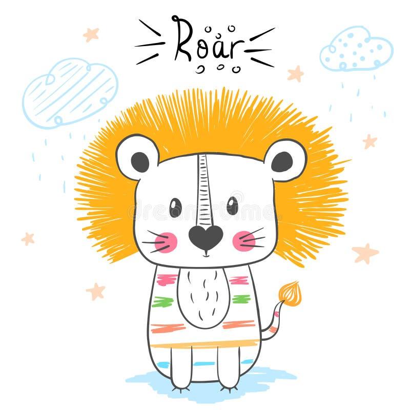 Lion, roar illustration. Cartoon hand draw monster character for print t-shirt. vector illustration