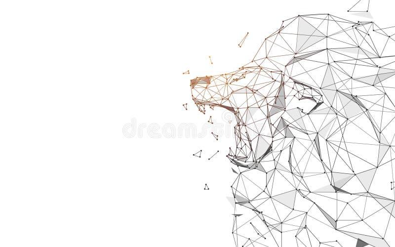Lion Roaring från linjer, trianglar och partikelstildesign royaltyfri illustrationer