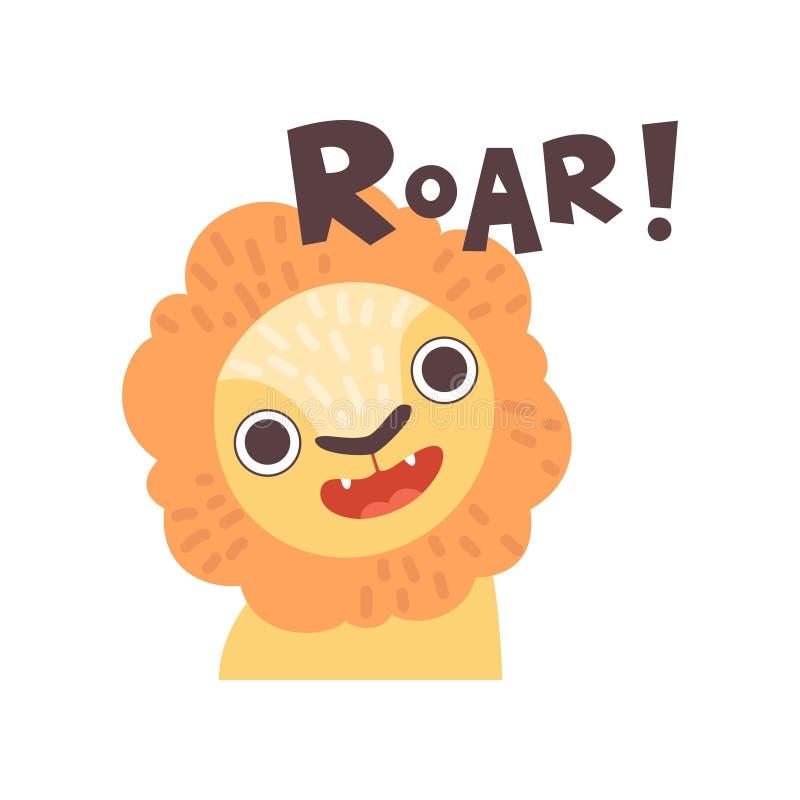 Lion Roaring gullig tecknad film djura görande Roar Sound Vector Illustration royaltyfri illustrationer