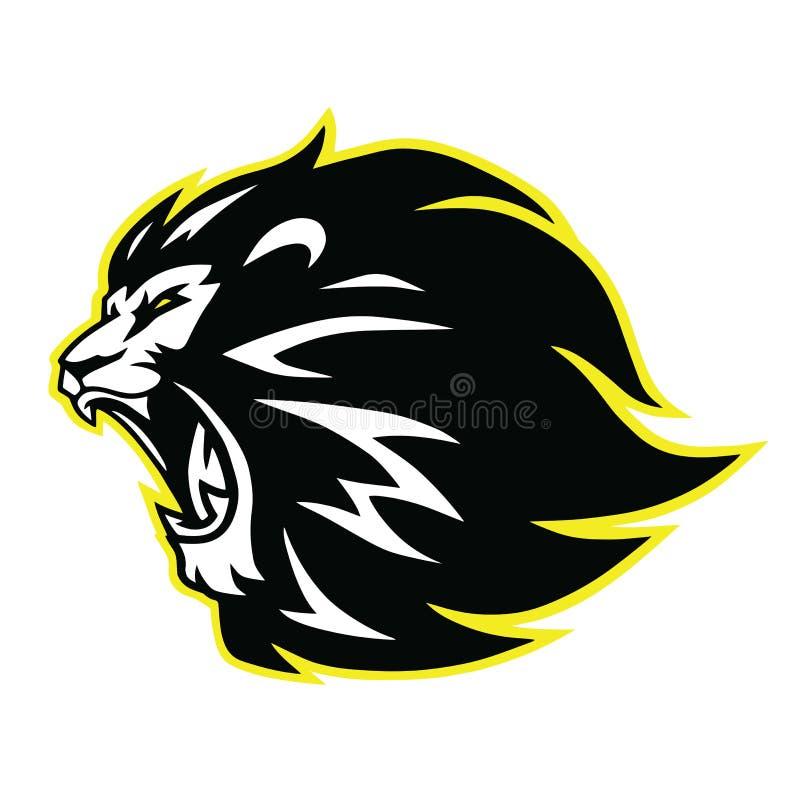 Lion Roaring Head Logo, sinal, Vector o ícone preto e branco do projeto ilustração do vetor