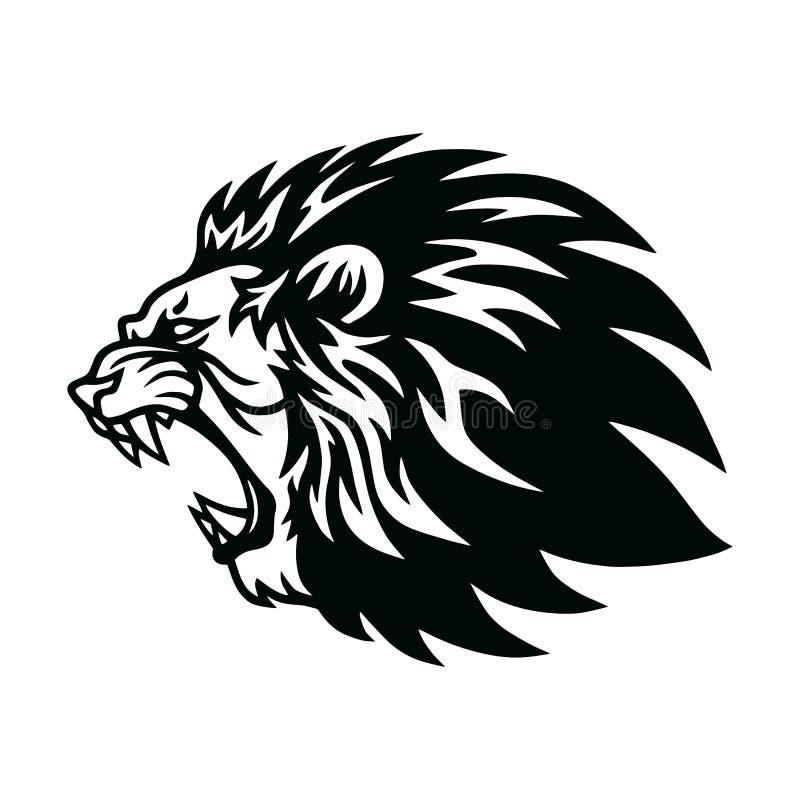 Lion Roaring Head Logo Vector-Maskottchen-Ikonen-Entwurf lizenzfreie stockfotos