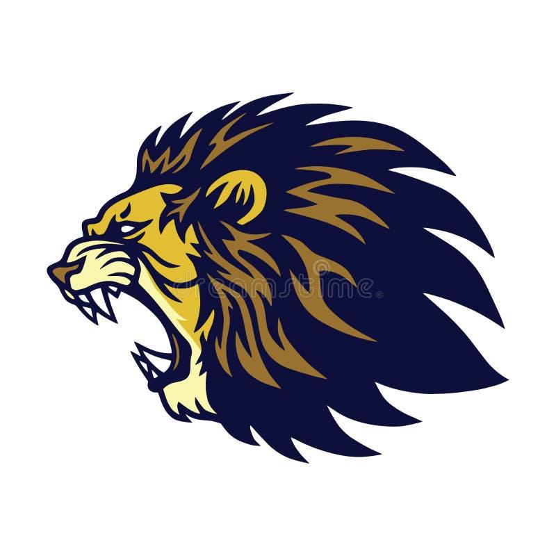 Lion Roaring Logo Vector Esport-Maskottchen-Entwurf lizenzfreie stockfotos