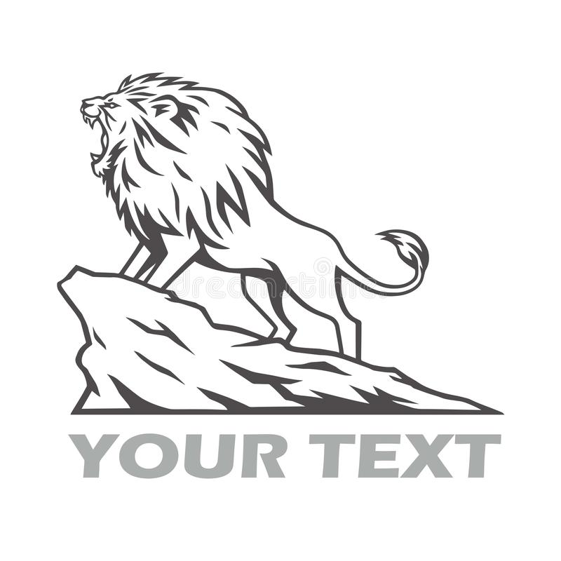 Lion Roaring on the Mountain Hill Logo Design Vector Illustration stock illustration