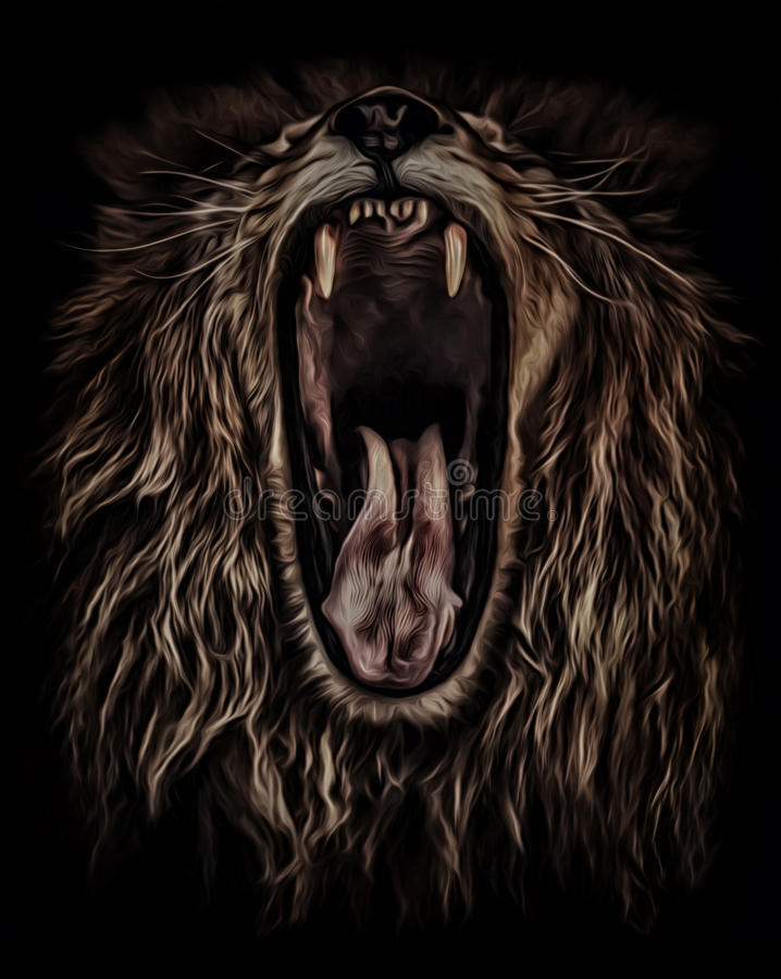 Lion roars, portrait in oil colour royalty free stock image