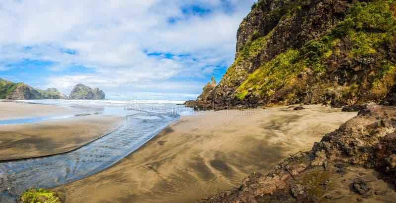 Lion Rock. Mighty Lion Rock on the Piha beach near Auckland, New Zealand royalty free stock photos