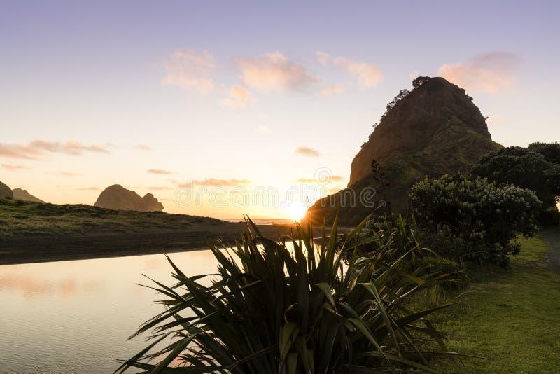 Lion Rock, Piha stock photo