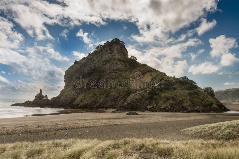 Lion rock on Piha beach fills full frame. Auckland, New Zealand - March 2, 2017: Lion rock on sandy Piha beach of Tasman Sea fills full frame under blue sky stock photography