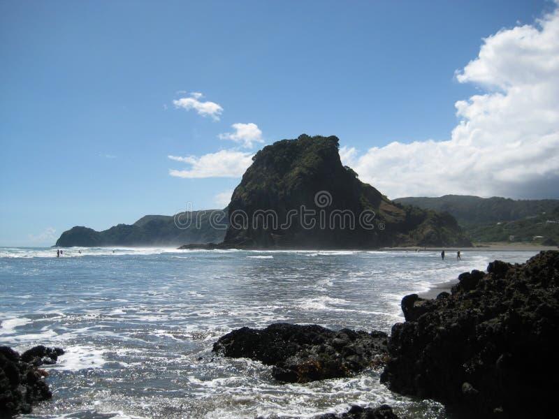 Lion Rock, Piha Beach, New Zealand royalty free stock images