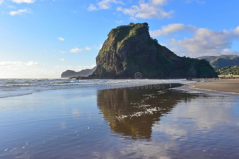 The Lion Rock is Piha Beach`s most iconic landmark, at west coast Waitakere in New Zealand. The Lion Rock is Piha Beach`s most iconic landmark, at west coast royalty free stock images
