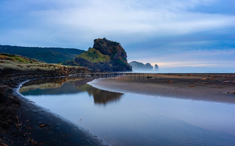 Lion Rock South Piha. Lion Rock viewed from South Piha on Auckland`s wild west coast stock photo