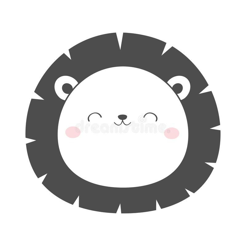 Lion round face head sketch line icon. Kawaii animal. Cute cartoon character. Funny baby with eyes, nose, ears. Kids print. Love. Greeting card. Flat design stock illustration