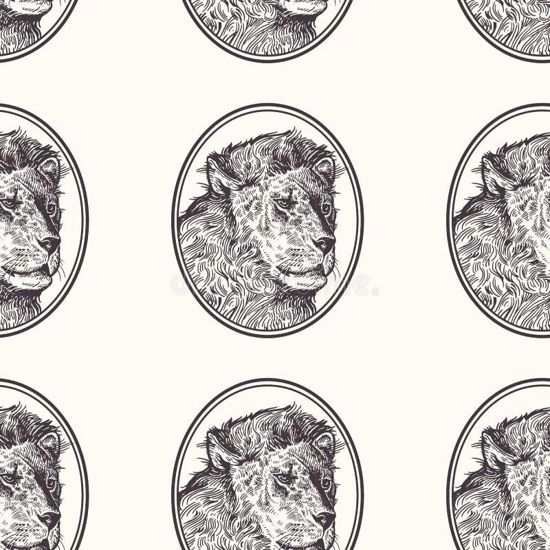 lion Sömlös modell med djur av Afrika Handteckning av djurliv Vektorillustrationkonst svart white Gammal gravyr royaltyfri illustrationer