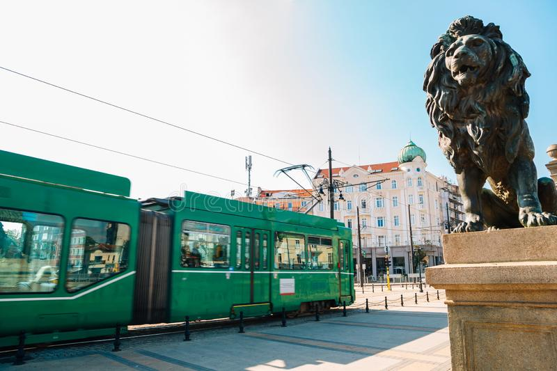 Lion`s Bridge and tram in Sofia, Bulgaria royalty free stock images
