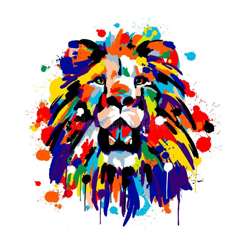 Free Lion`s Face, Savannah Animals, Brush Strokes Paints, Colored Spray, Lion Mane Royalty Free Stock Photos - 158627758