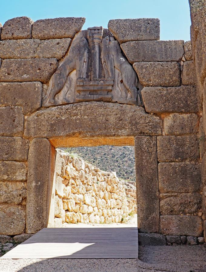 The Lion`s Gate, entrance to the ruins at the ancient city of Mycenae in Greece royalty free stock photography
