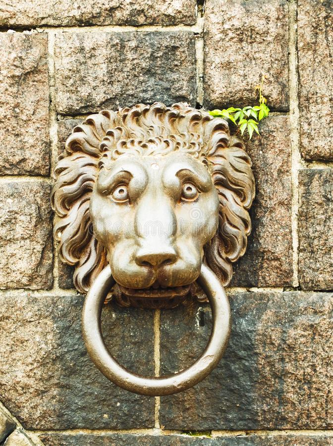 Lion's head door knocker royalty free stock images