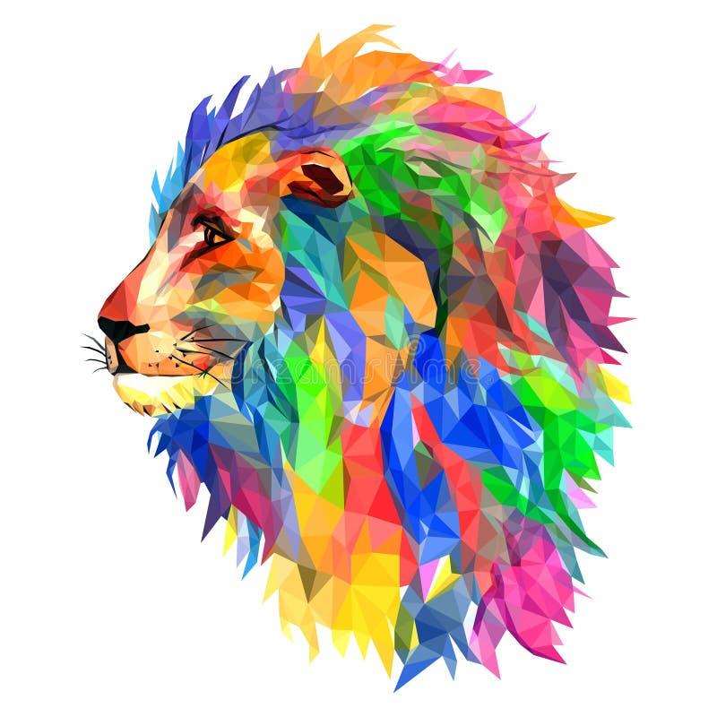 Lion`s head, king of beasts, mosaic. Trendy style geometric on w stock illustration