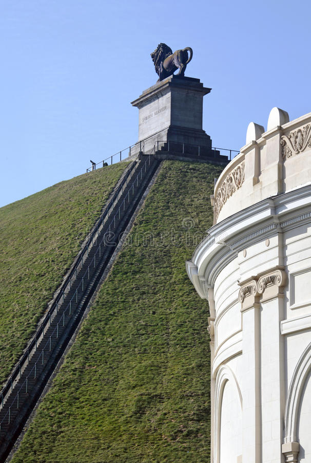 Lion's Mound commemorating the Battle at Waterloo, Belgium. The mound is 43 m in height and has a circumference of 520 m, which dimensions would yield a volume stock image