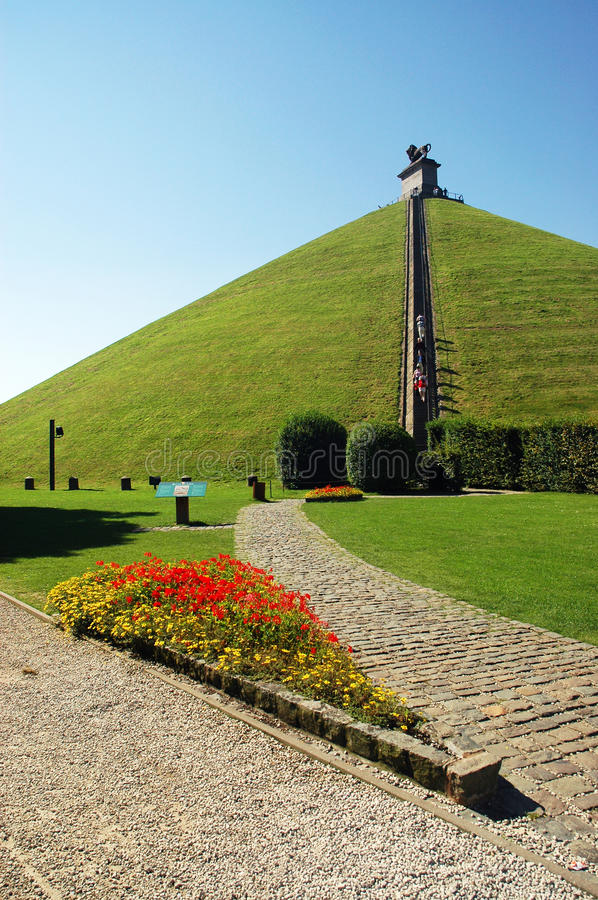 Lion's Mound near Waterloo. Lion's Mound commemorates the Battle of Waterloo in 1815, Belgium stock photography