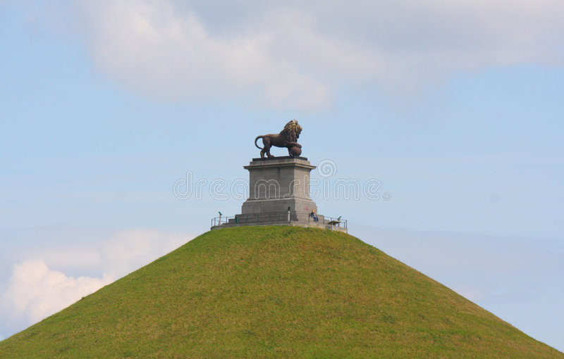 The Lion's Mound of Waterloo. The mound symbol of the english victory against the army of the french Emperor Napoleon in Waterloo, Belgium stock photo